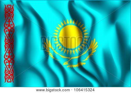 Kazakhstan Variant Flag. Rectangular Shape Icon with Wavy Effect poster