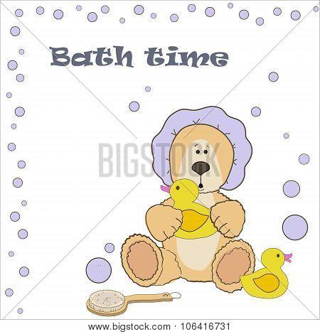 Teddy bear bath time