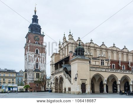 The Cloth Hall and Main Square in Krakow. Poland. 6 May 2015.