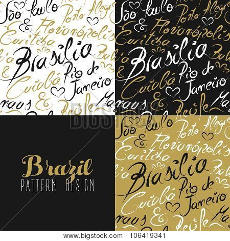Travel Brazil South America Rio City Pattern Gold