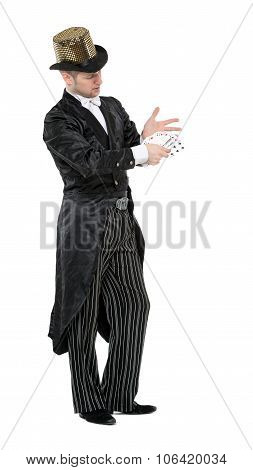 Illusionist Shows Tricks With Playing Card
