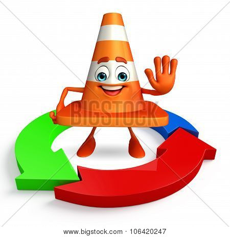 Construction Cone Character With Arrow