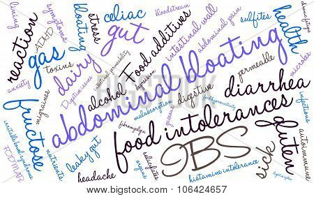 Abdominal Bloating word cloud on a white background. poster