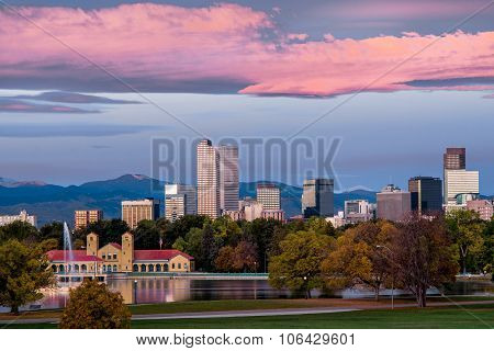 Denver downtown skyline at sunrise with colorful clouds