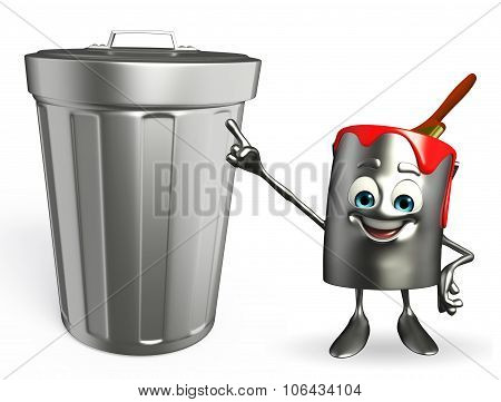 Paint Bucket Character With Dustbin