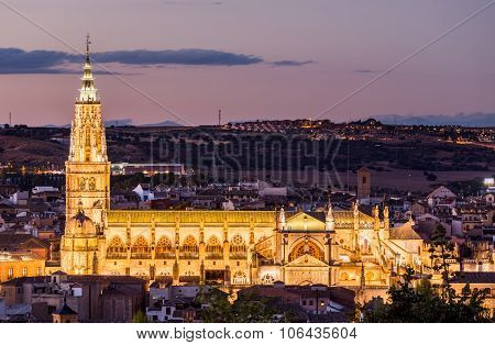 Evening View Of Toledo Cathedral In Spain