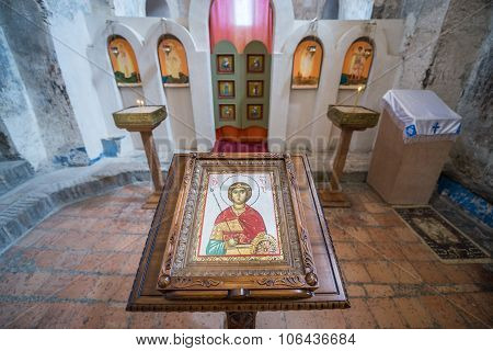 Uplistsikhe, Georgia - July 21, 2015: inside the Christian Basilica in ancient rock-hewn town called Uplistsikhe