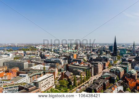 Aerial View Of Hamburg City Center, Germany