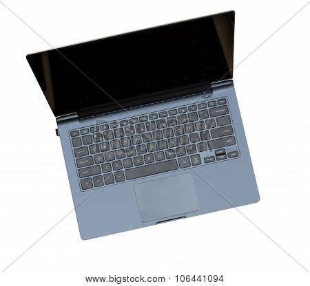 Overhead Top View Of Isolated Laptop