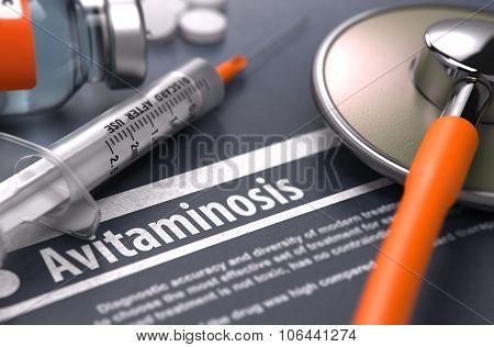 Avitaminosis - Printed Diagnosis on Grey Background.