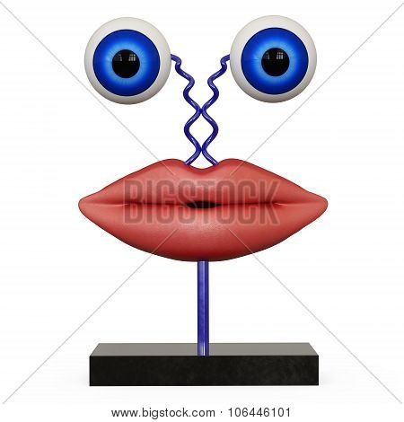 Figurine lips with blue eyes