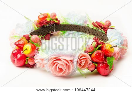 forest coronal or colorful fake flower crown isolated on white background poster