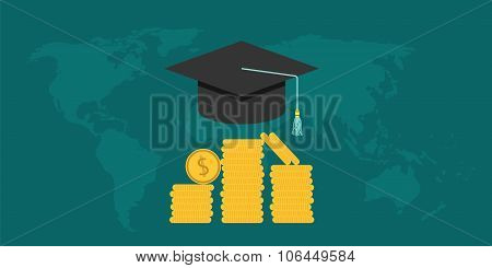 scholarship college with cap and money coin