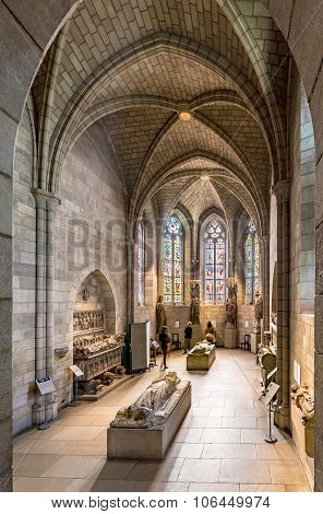 People Visit The Sanctuary At The Cloisters Museum In New York