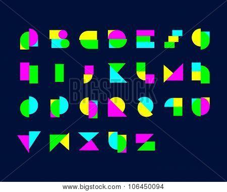 Digital Geometrical Font Set
