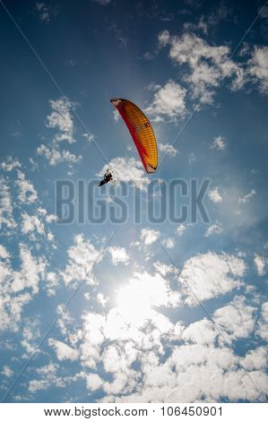 Parachutist with propeller back packs festival show Asia