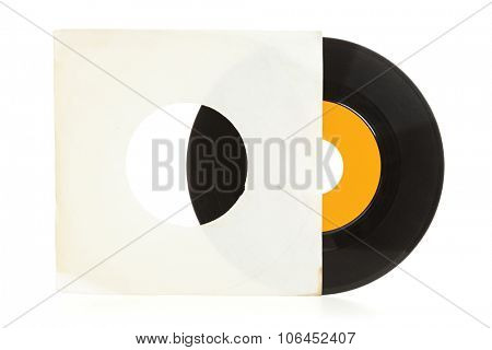 Record in sleeve. Single vinyl record half out of yellowed blank sleeve isolated on white background