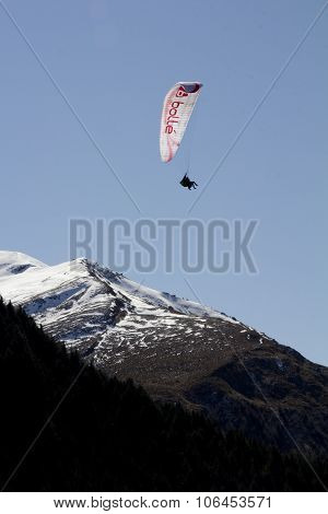 QUEENSTOWN, NZ - SEP 21: Paragliding on Sep 21 2015 over the mountain in Queenstown New Zealand from