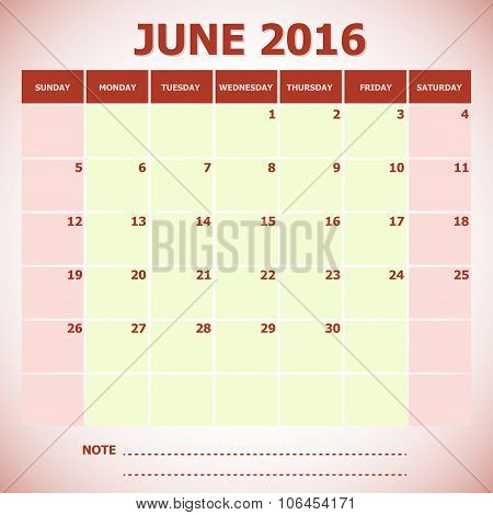 Calendar June 2016 Week Starts Sunday