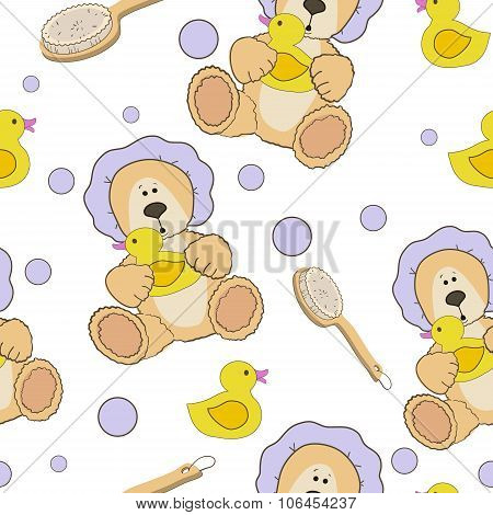 Teddy bear bath time seamless  pattern