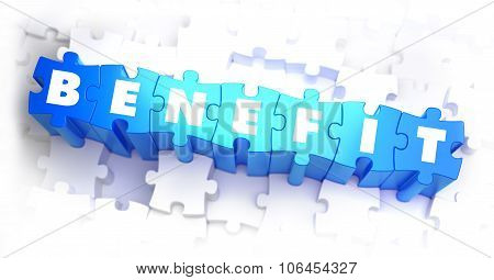 Benefit - White Word on Blue Puzzles.