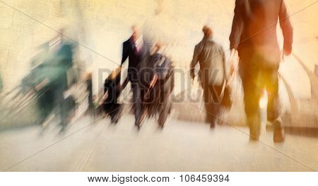 Commuter Business People Commuter Crowd Walking Cathedral Concept poster