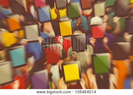 Social Gathering Digital Tablet Communication Society Concept poster