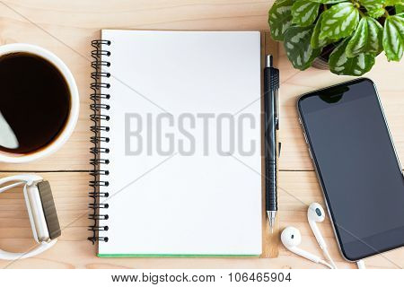 Diary Book Blank Page On Wood Desk On Top