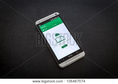 Microsoft Excel app on screen of a mobile smartphone.