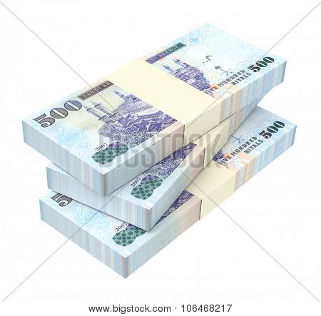 Saudi Arabia rials bills isolated on white background. Computer generated 3D photo rendering.