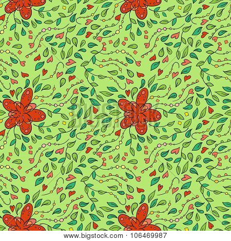 Seamless Pattern With Convoluted Floral Ornament.