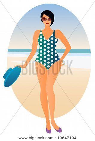 Curvy woman on the beach