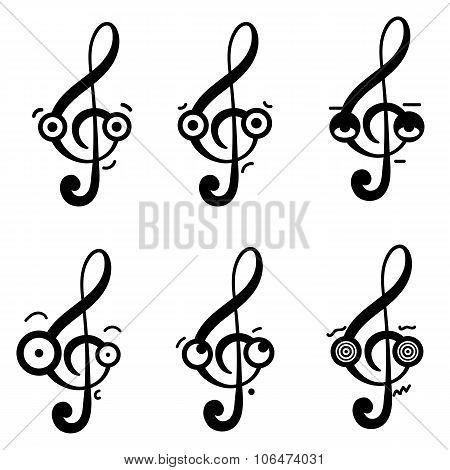 Emotional treble clefs