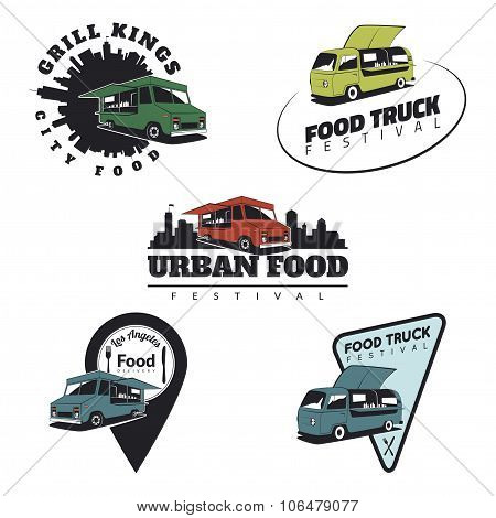 Set Of Food Truck Emblems, Icons And Badges.