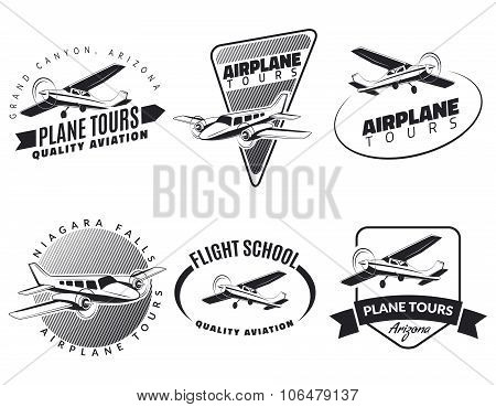 Set Of Vintage Airplane Emblems, Badges And Icons.