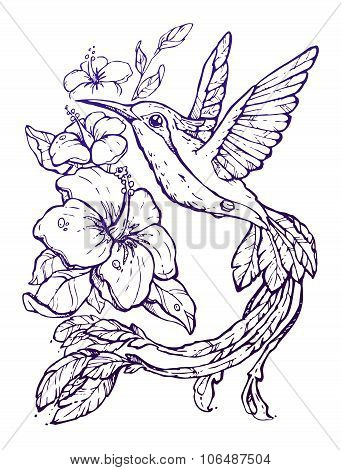 Beautiful illustration with colibri and flowers