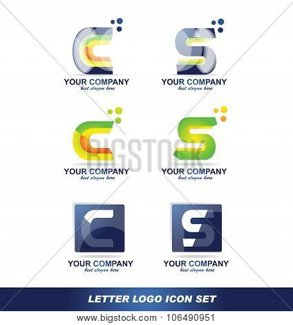 Letter C S Logo Icon Set