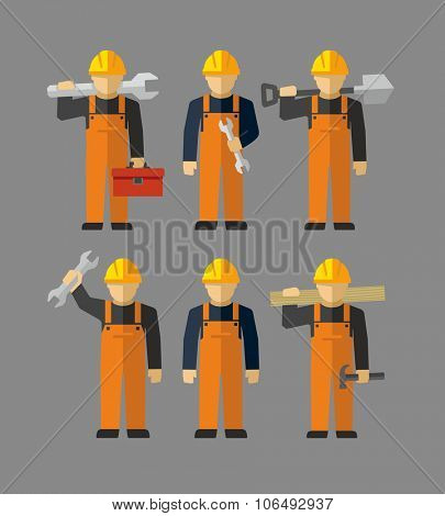 Vector Construction Professional Workers Figures
