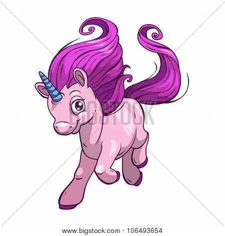 Little cute cartoon fantasy unicorn