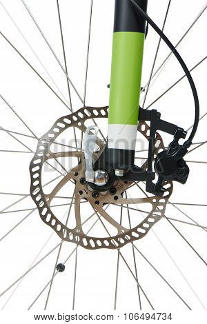 Closeup of front hydraulic disk brake and shock absorber fork of mountain bike isolated on white poster