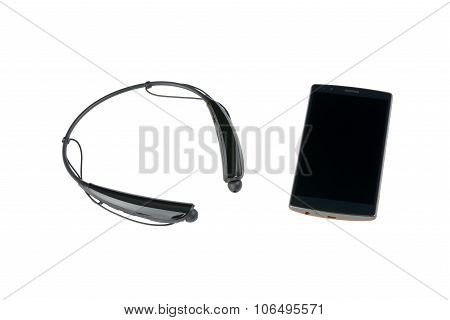 Smartphone And Bluetooth Wireless Earphone