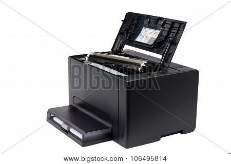 Black Toner Cartridge On A Laser Printer