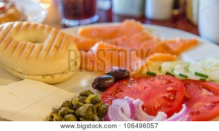 Lox And Bagel Plate With Fresh Tomatoes