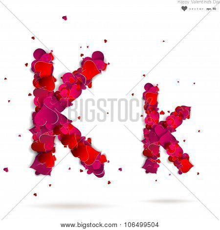 Letter K made from hearts. Love alphabet