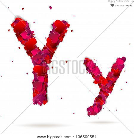 Letter Y made from hearts. Love alphabet