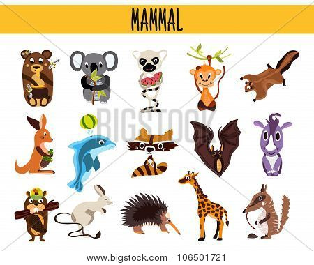 Set of Cute cartoon Animals mammals living in different parts of the world forests, seas and tropica