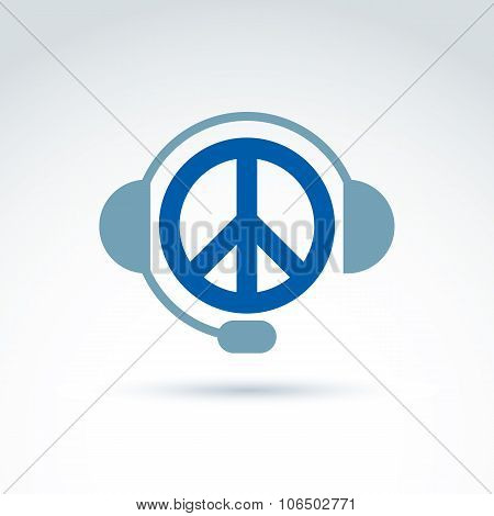Call Center Icon With Headphones, Consultation Symbol. Antiwar Vector Icon, Peace Symbol From 60S.