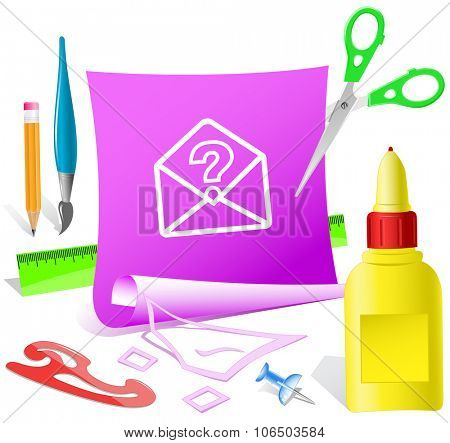 open mail with query sign. Paper template. Raster illustration.