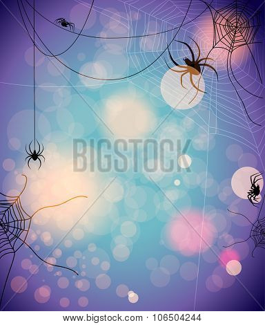 Mysterious background with spiders. Design for card, banner, invitation, leaflet and so on.
