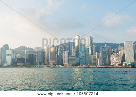 Hongkong island skyline from Kowloon city Victoria harbour poster